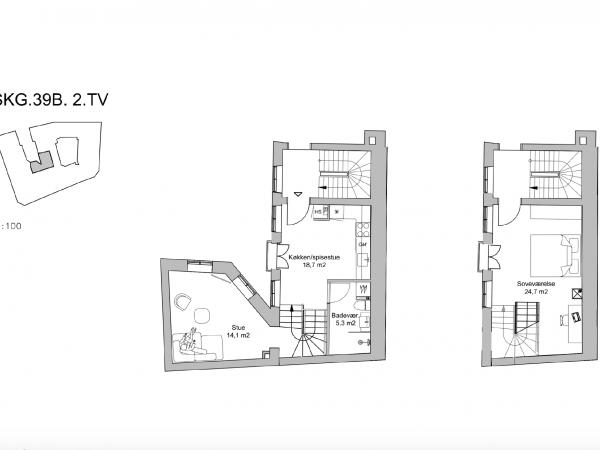 Jorcks Passage city indre by leje lejlighed lejelejlighed bolig lejebolig strøget skindergade vimmelskaftet 3v 2v baggård københavn kbh
