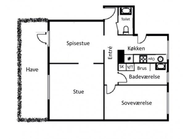 Sortedam Dossering søerne Østerbro stuelejlighed have privat seperat toilet trianglen østerport stuer en suite
